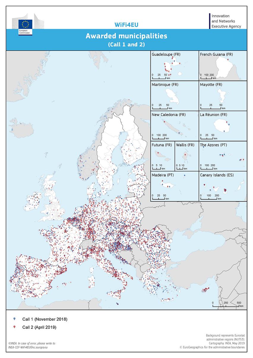 Mapa municipis subvencionats WIFI4EU
